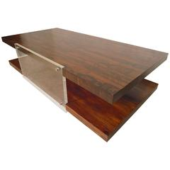 Large Rosewood and Lucite Coffee Table