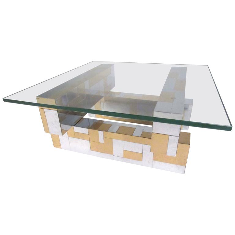Chrome Coffee Table Items: Paul Evans Chrome And Brass Cityscape Coffee Table For