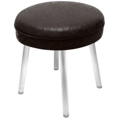 Vintage Lucite Swivel Stool with Leather Seat