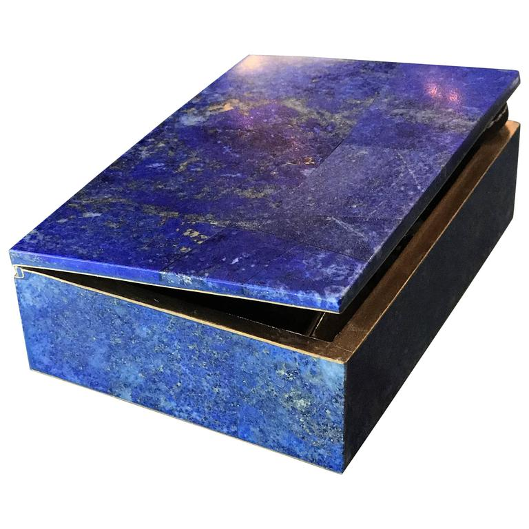 Exquisite Lapis Lazuli Gilt Bronze Jewelry Dresser Box, 1950s 1