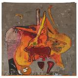 """Modern Abstract Painting by Wes Olmsted Entitled """"Cave Painting"""", 1963"""