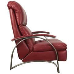 Contemporary Red Leather and Chrome Three Position Reclining Lounge Chair