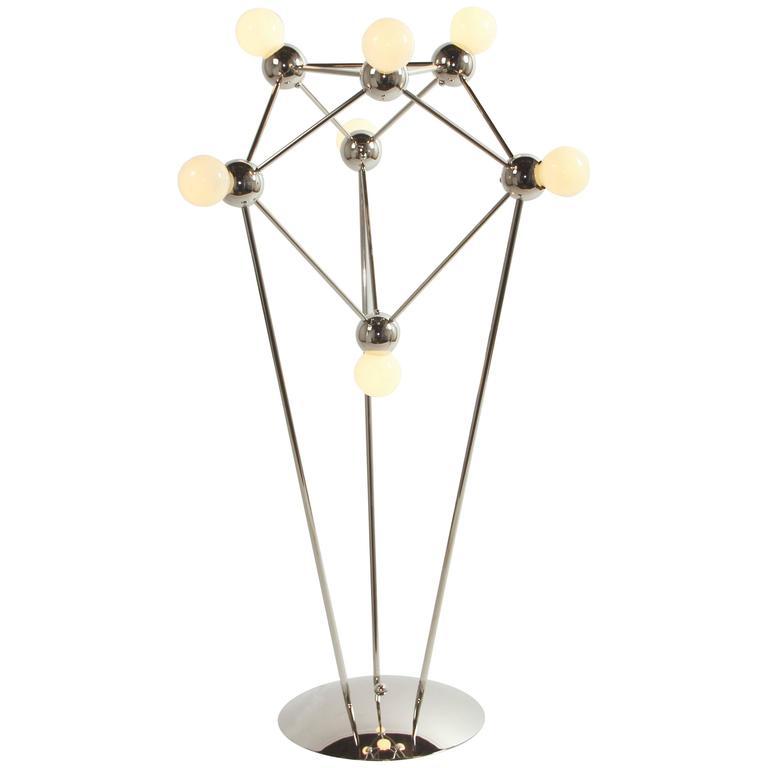 Lina 07-Light Floor Lamp, Modern Minimal Atomic Space-Frame, Polished Nickel