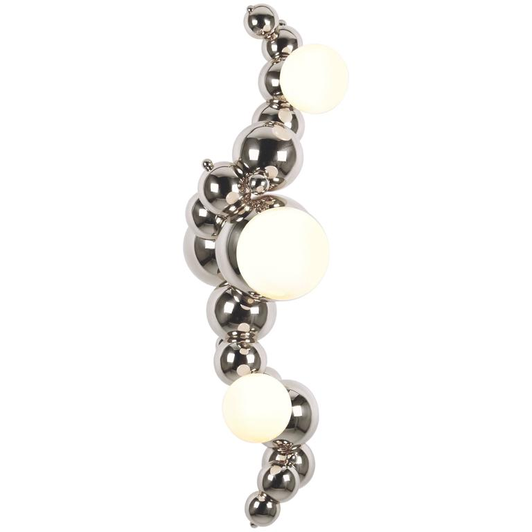 Bubbly 03 Light Wall-Mount, Modern Molecule Sculptural Sconce, Polished Nickel