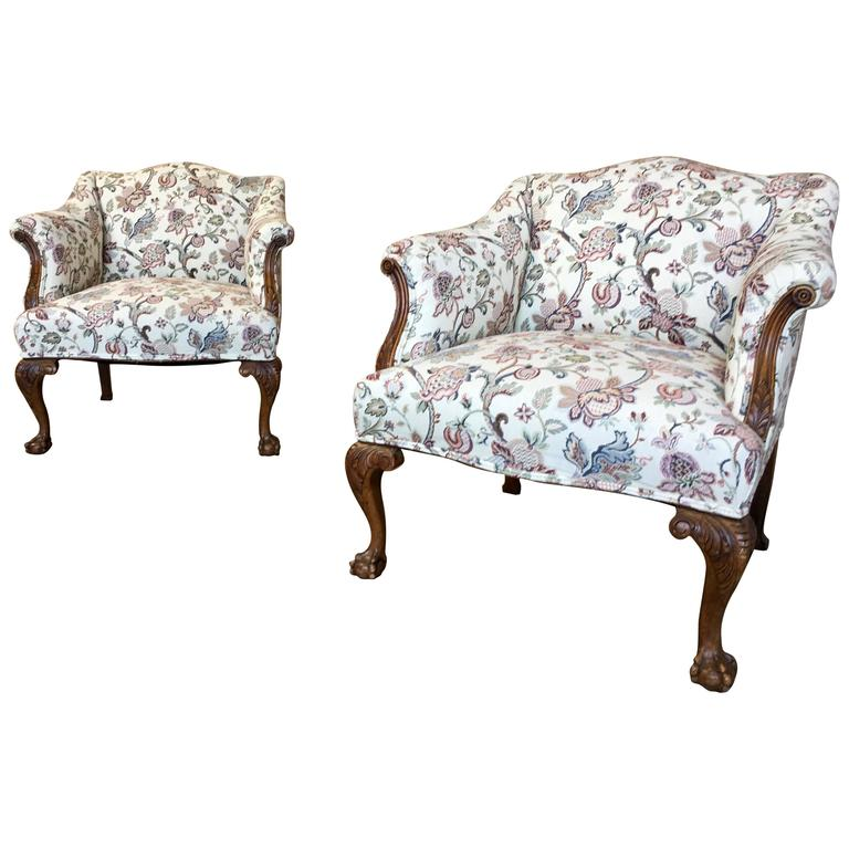 Pair of George III Style Lounge Chairs