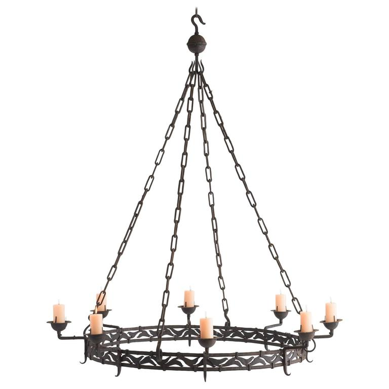Massive iron candlelight chandelier circa 1900 at 1stdibs massive iron candlelight chandelier circa 1900 for sale mozeypictures Images