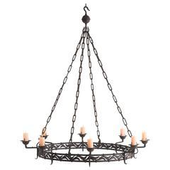 Massive Iron Candlelight Chandelier, circa 1900