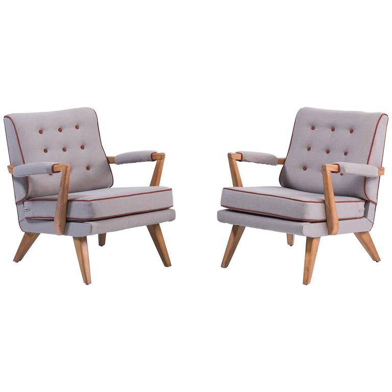 Upholstered Modern Oak Armchairs, circa 1950 For Sale
