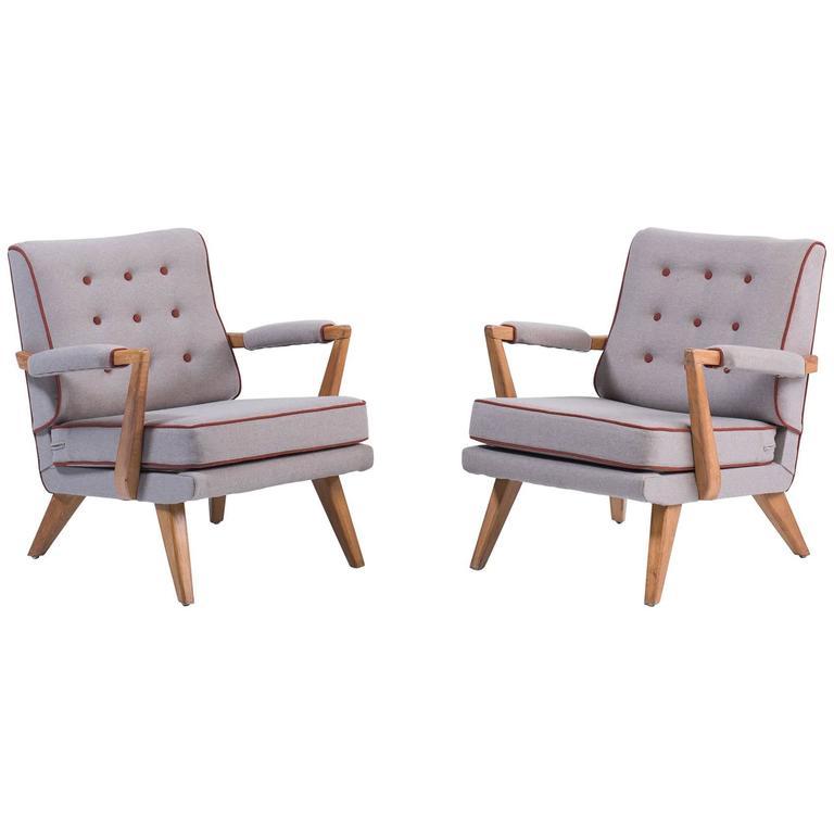 Upholstered Modern Oak Armchairs, circa 1950 1
