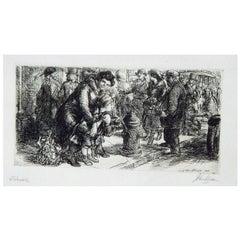 """John Sloan Original Etching, 1917, """"Sidewalk"""""""