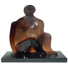 Jean-Pierre Demarchi Pate de Verre Glass Sculpture for Daum, Figural