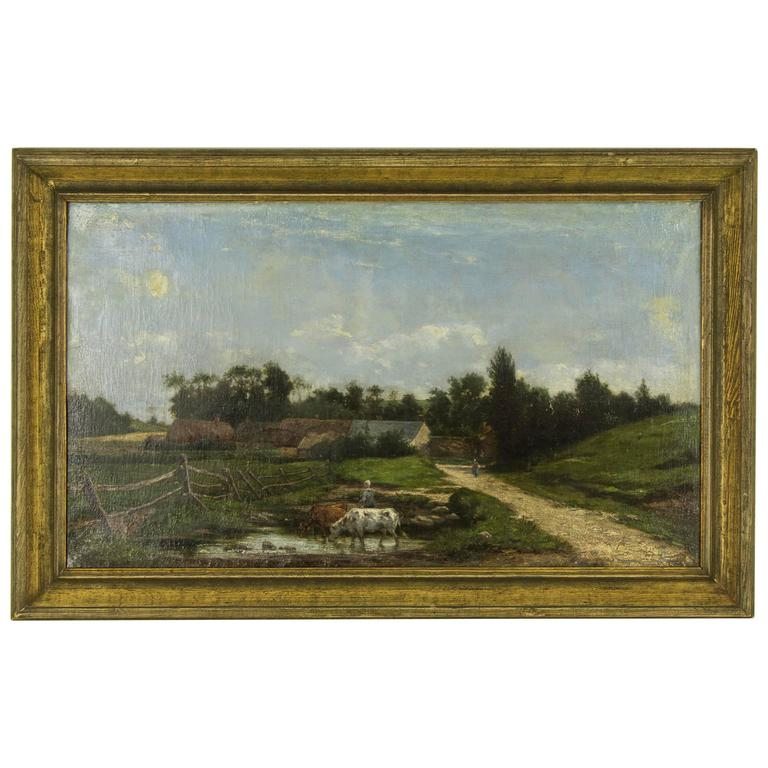 Antique French Oil Painting in the Manner of Constant Troyon