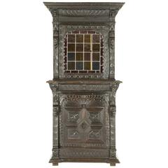 Antique Scottish Oak Cabinet Bookcase with Leaded Glass