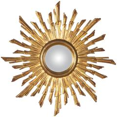 French Giltwood Convex Sunburst Mirror, 1950s