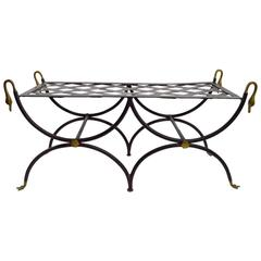 Classical Swan Head Brass and Iron Bench