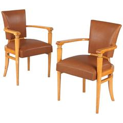 Pair of French Art Deco Birchwood Armchairs, 1930s
