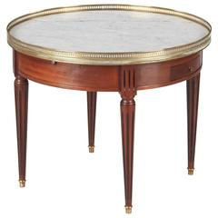 "Louis XVI Style Cherrywood and Marble-Top ""Bouillotte"" Table, 1940s"