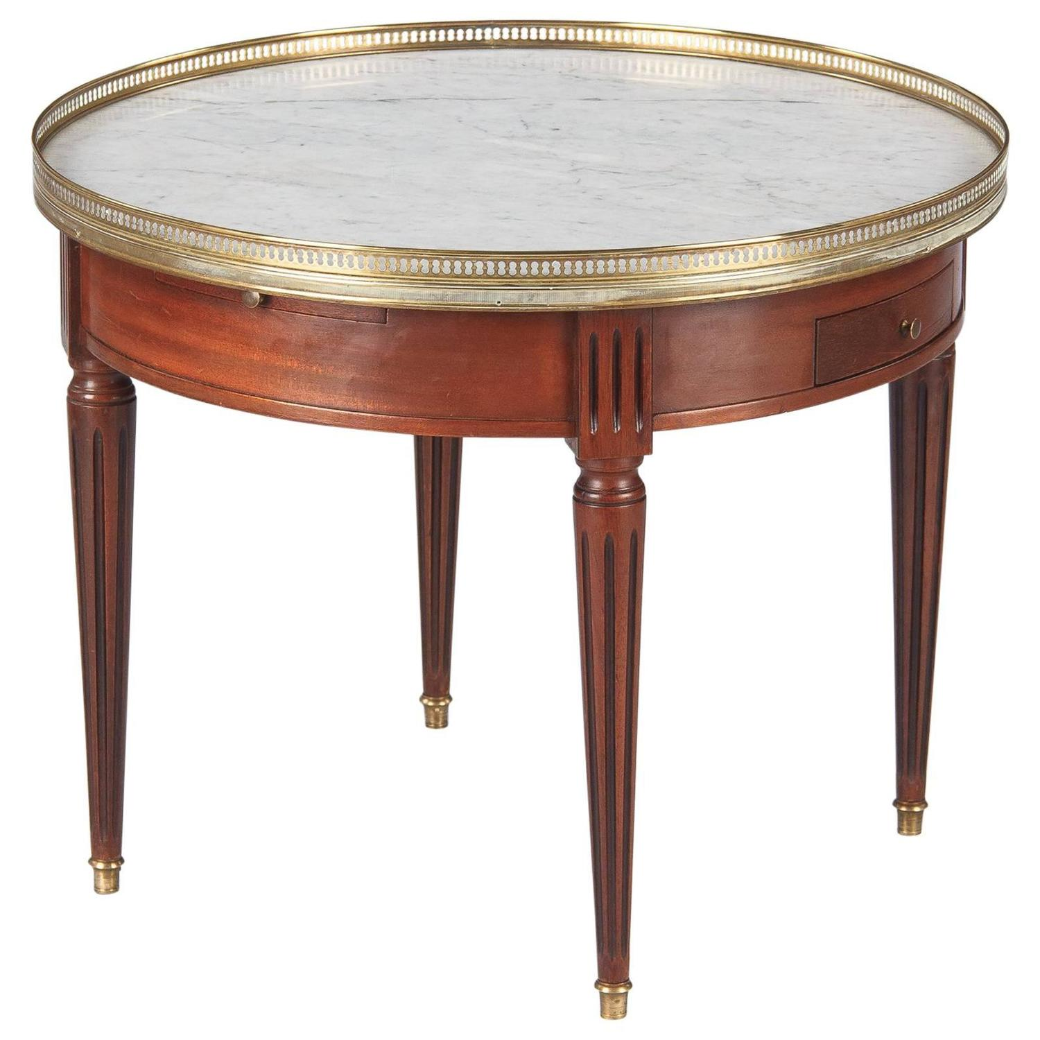"""Louis XVI Style Cherrywood and Marble Top """"Bouillotte"""" Table"""