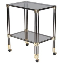 Nickel, Brass and Smoked Glass Bar Cart/Serving Table, France, 1970s