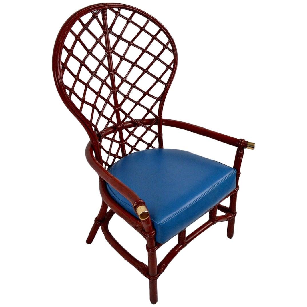 High Fan Back Woven Wicker Chair by Ficks Reed