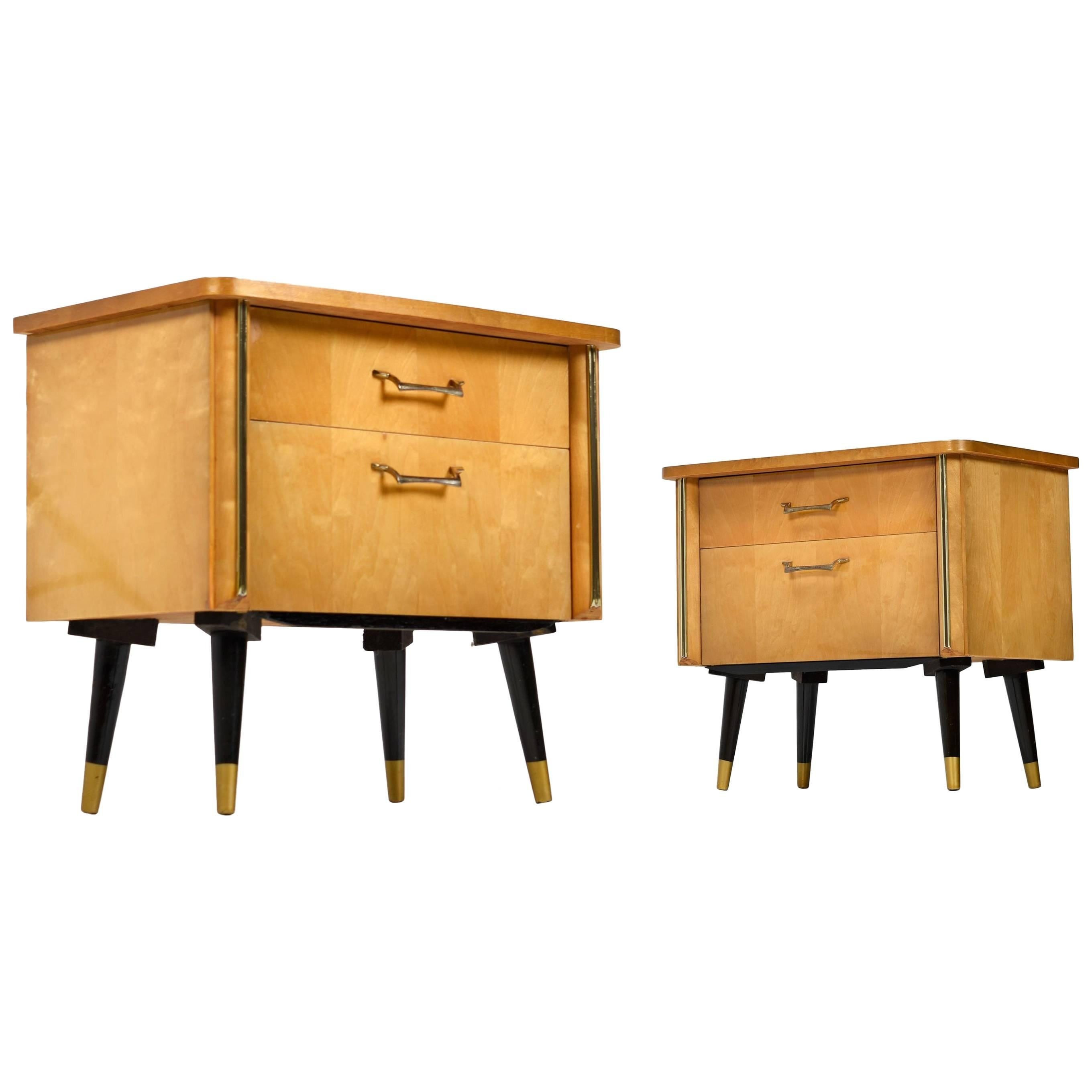 German rockabilly style birch wood petit nightstands 1950s mid century modern at 1stdibs