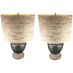 Pair of 1970s Metal Urn Form Table Lamps with Original Cork Shades