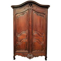 "18th Century French ""Armoire Provençale"" Wedding Wardrobe in Solid Walnut"