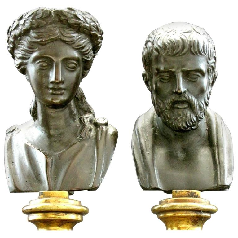 Pair of Grand Tour Style Miniature Classical Bronze Busts, Circa 1900 For Sale