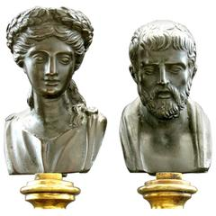Pair of Grand Tour Style Miniature Classical Bronze Busts, Circa 1900