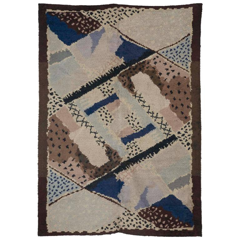Vintage French Deco Rug By Jean Burkhalter For D I M At
