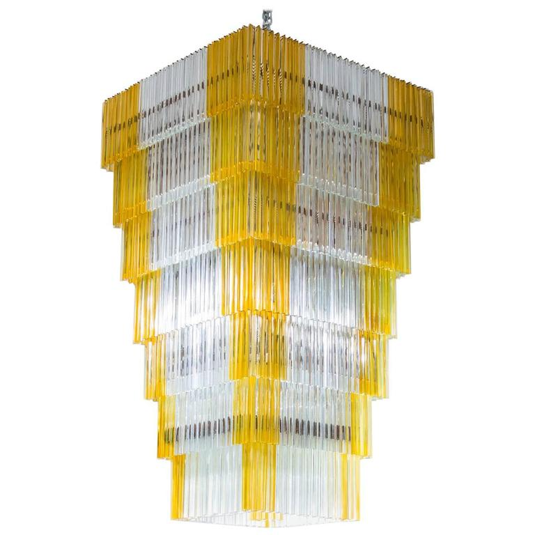 Italian Chandelier, blown Murano Glass, Triedro Elements Amber, Venini, 1960s