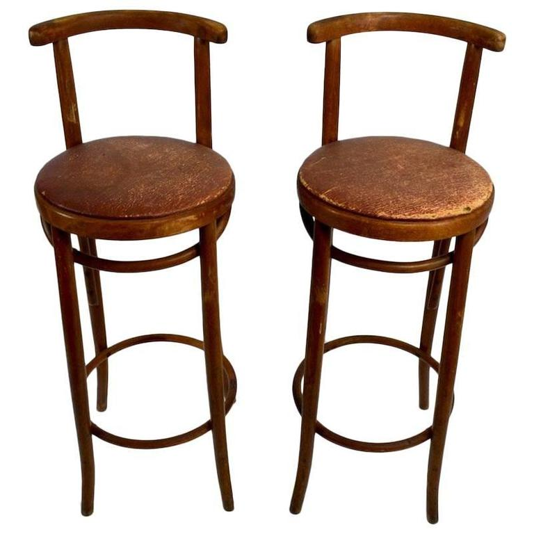 Pair Bentwood Czechoslovakian Stools Attributed to Thonet