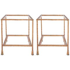 Pair of Golden Iron Rope Side Tables, Attributed Maison Jansen, France, 1950