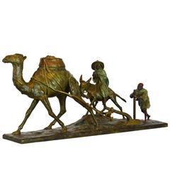 'Paysans Arabes Et Leur Dromadaire' Bronze Group by Edouard Drouot