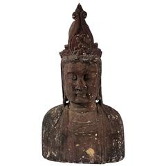 Monumental Bust of Boddhisattva in Carved Wood, China, 18th-19th Century