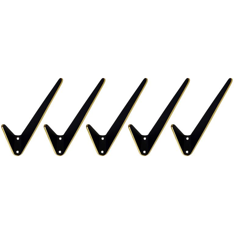 Five Asymmetric Midcentury Brass and Black Wall Hooks, Austria, 1950s For Sale