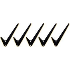 Up to Five Asymmetric Midcentury Brass and Black Wall Hooks, Austria, 1950s