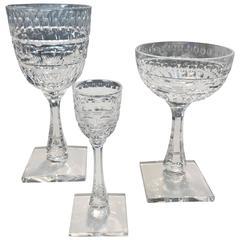 Set of 36 Antique Hawkes Stemware Glasses