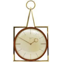 Elegant Mid-Century Junghans Meister Ato-Mat Teak and Brass Wall Clock, Germany