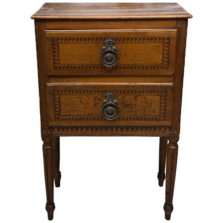 19th Century, Italian Walnut Louis XVI Style Side Cabinet 1