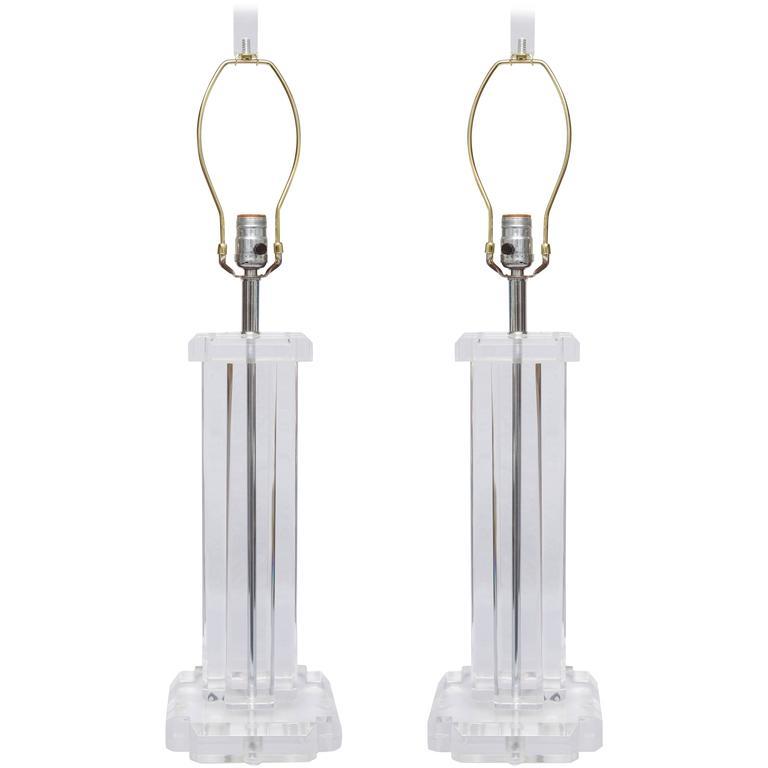 Pair of Mid-Century Lucite Lamps