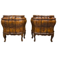 19th Century Pair of Italian Rococo Style Walnut Commodes