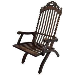 19th Century Folding Armchair with Vines Decor