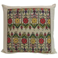 19th Century Turkish Colorful Embroidery Decorative Pillow