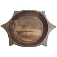 African Hand-Carved Wood Artisanal Serving Bowl