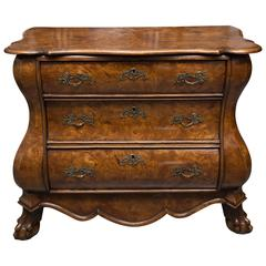 19th Century Dutch Rococo Walnut Bombe Chest