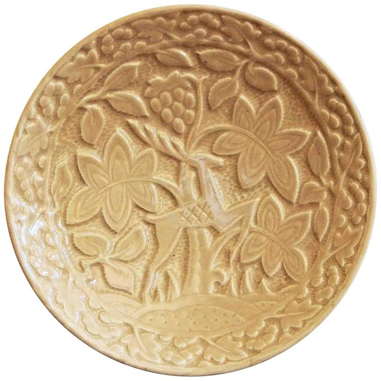 """""""Deer in the Tropics,"""" Large, Rare Art Deco Bowl with High Relief, Boulton For Sale"""