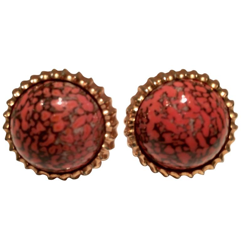 Mid-Century Gold and Coral Glass Stone Cufflinks by ...