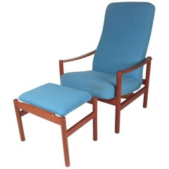 Mid-Century Modern Lounge Chair and Ottoman by Westnofa