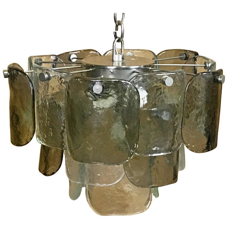 Mid-Century Modern Mazzega Murano Glass Three-Tier Chandelier